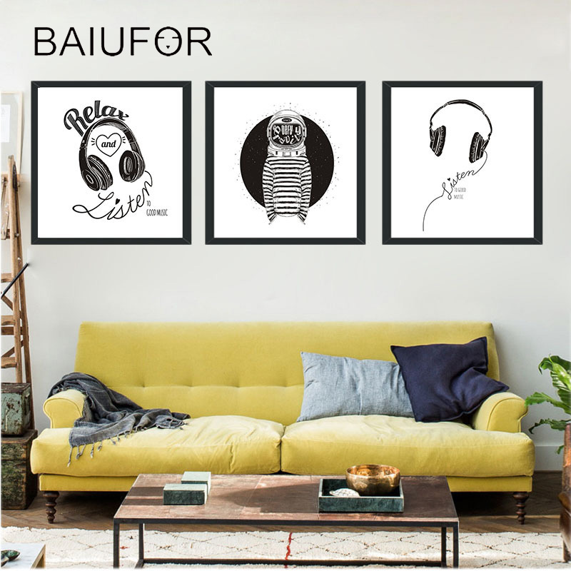 BAIUFOR Cartoon Headset Nordic Poster and Prints Black White Nordic ...