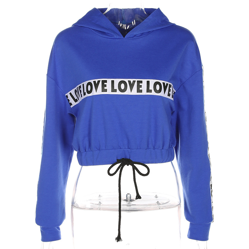 Womens Exposed Navel Bandage Dance Hoodies Blue Leisure Long- sleeved Women Hoodies Elastic Waist Love Letter Printed Tops