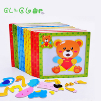 New 8pcs Kids 3D Magnetic Puzzles Jigsaw Wooden Toys Cartoon Animals Puzzles Tangram Child Educational Toy