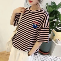 Shuchan Striped Oversize Korean T Shirt Women 2019 Casual Short Sleeve Women's T Shirts Summer Tee Shirt Femme Tops Red Yellow