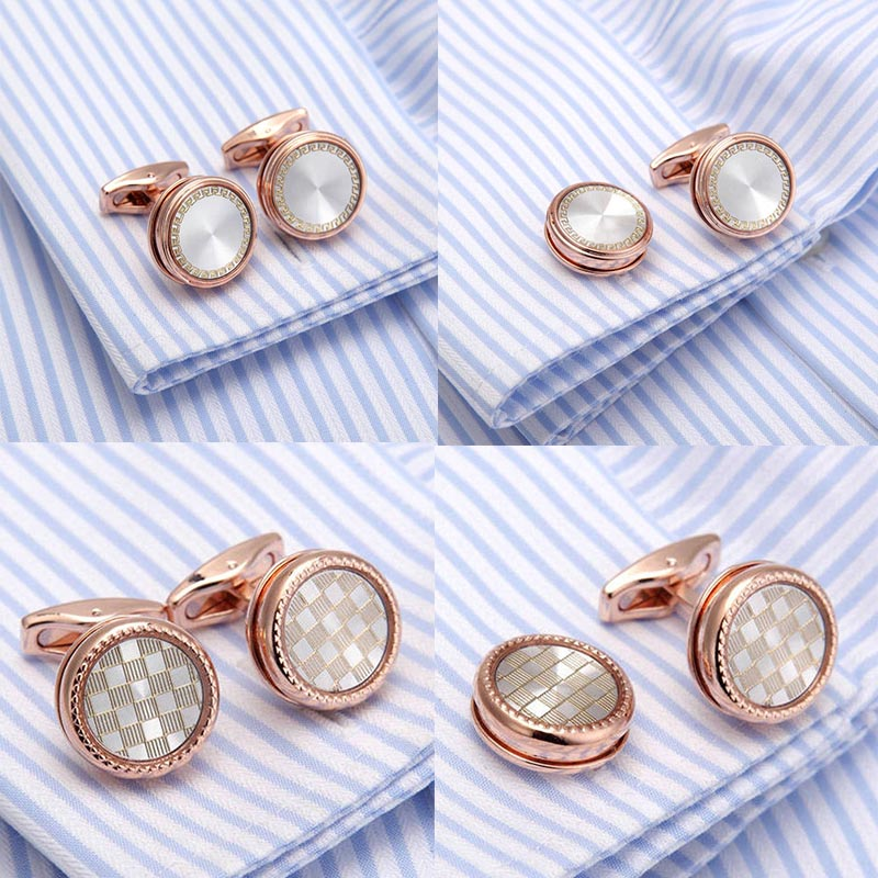 French Wedding Gifts: AAA Quality VAGULA Plated Rose Gold French Cufflinks