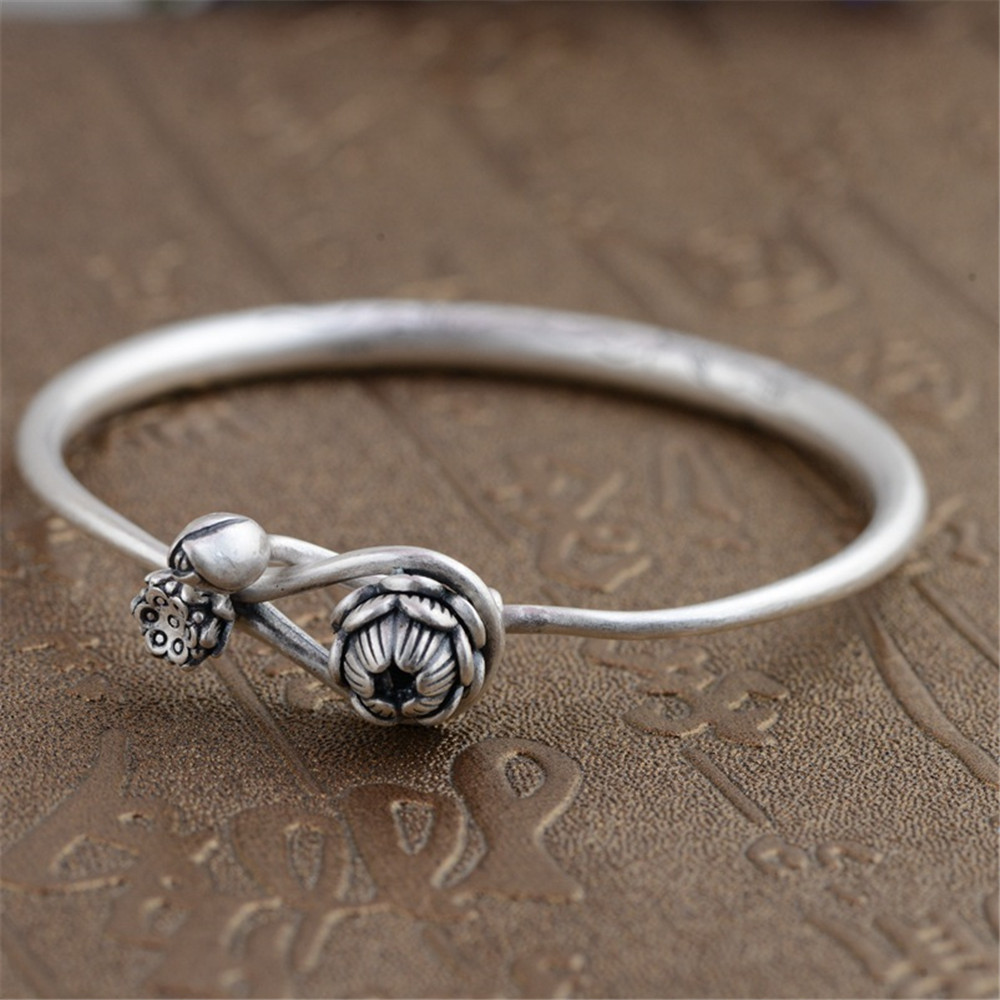 HFANCYW Classic Pure 990 Silver Antique Style Bangle Females Solid Round Silver Lotus Bracelet & Bangle Christmas Gift DropshipHFANCYW Classic Pure 990 Silver Antique Style Bangle Females Solid Round Silver Lotus Bracelet & Bangle Christmas Gift Dropship