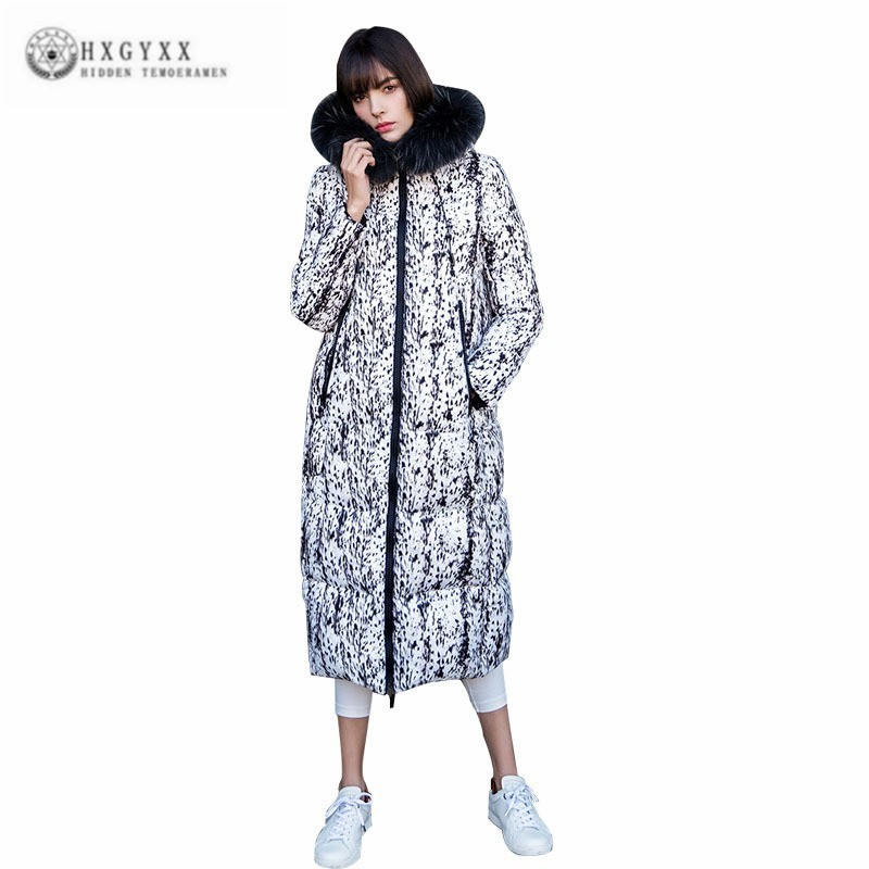 Winter Jacket Female European Hat Parka Big Hair Collar White   Down     Coat   Women Long Both Sides Wear Printed Thick Overcoat J091