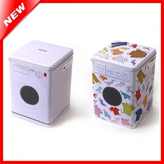 Decorative Laundry Machine Shaped Detergent Washing Powder Storage Tin Box Pet Dog And Cat Food Container Sundries Organizer