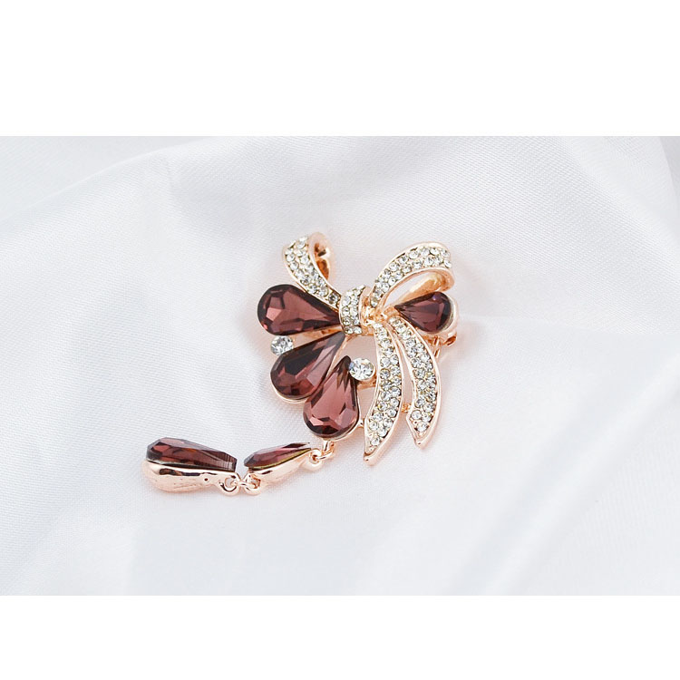 CINDY XIANG New Arrival Fashion Bow Brooches for Women Rhinestone Water-drop Style Brooch Pin 3 colors Available Summer 2021 4
