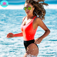2019 new swimwear Europe and the United States Amazon bikini red black color matching vest ladies tight sexy swimsuit