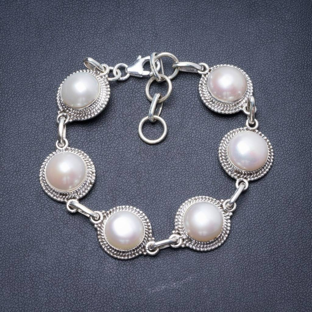 Natural River Pearl Handmade Unique 925 Sterling Silver Bracelet 7 1/4-8 1/4