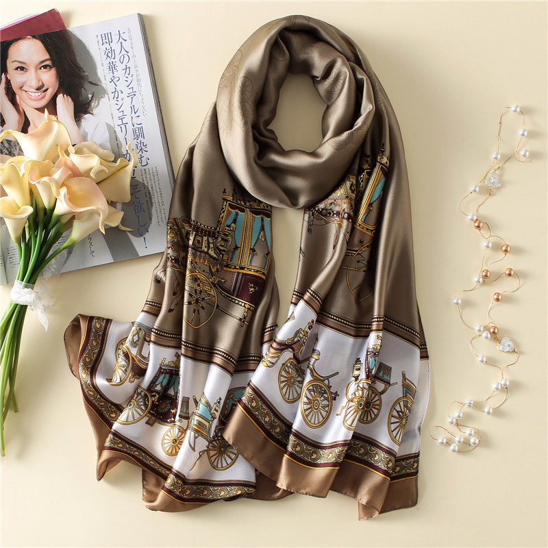 Women Silk   Scarf   Classical Large Shawl Soft Long   Wrap   NEW 180 x 90 cm [3238]