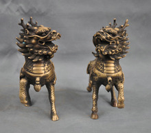 Details about  6″Chinese Bronze Animal Phylactery Beast Kylin Chi-lin Unicorn Pair Statue