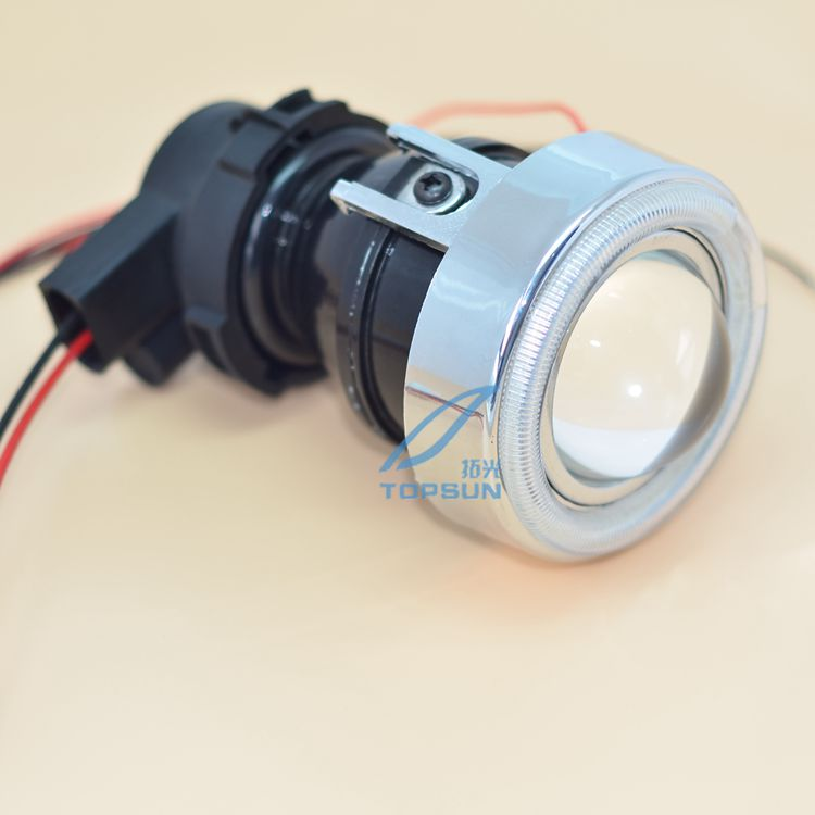 Universal Fit HID Fog Lamp Projector Lens glass Lens with Cover and LED Angel eyes, Using HID Xenon H3 Bulb, Free Shipping new m803 2 5 car motorcycle universal headlights hid bi xenon projector kit and m803 hid projector lens for free shipping
