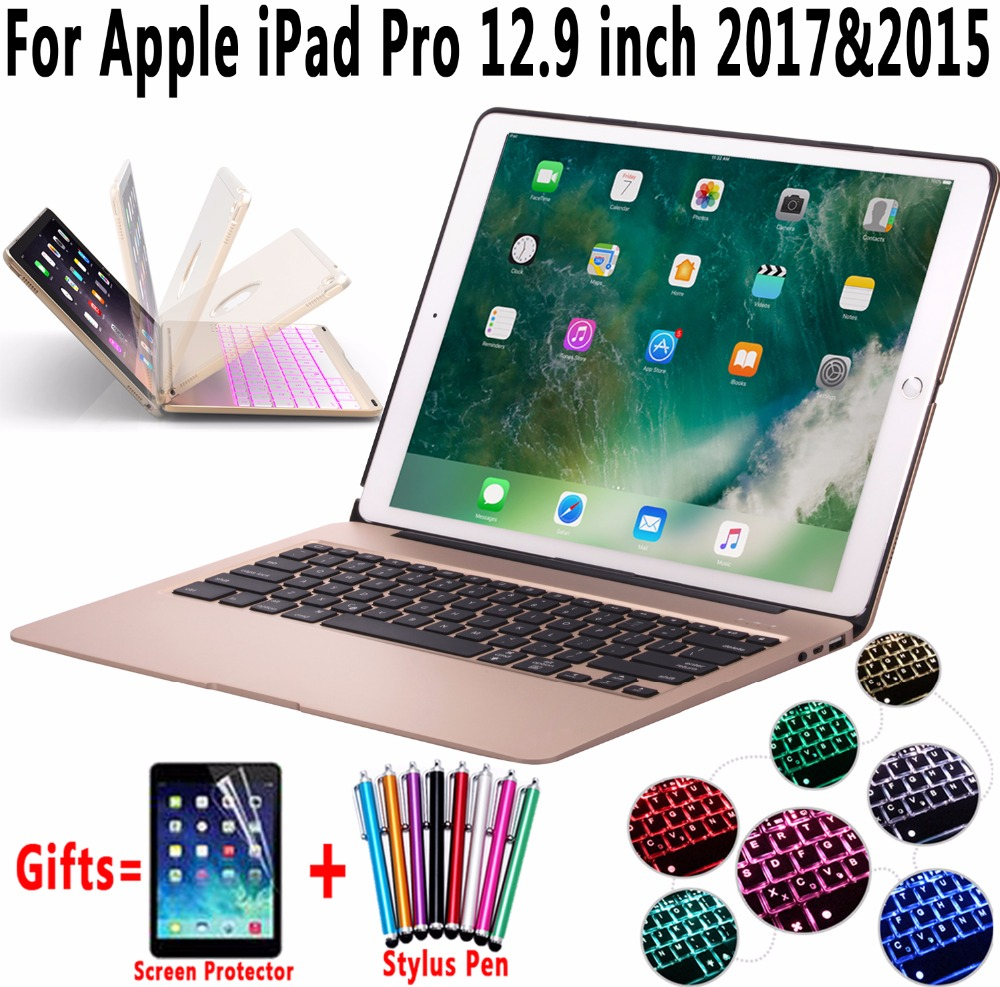 7 Colors Backlit Aluminum Alloy Wireless Bluetooth Keyboard Smart Case Cover for Apple iPad Pro 12.9 inch 2017 2015 Coque Capa aluminum keyboard cover case with 7 colors backlight backlit wireless bluetooth keyboard