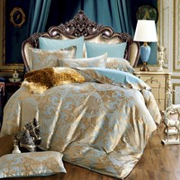 Hot sell Jacquard Bedlinen Queen King Size Duvet cover Set Silk and Cotton Bedding Sets Blue Colour