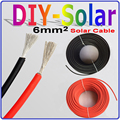 2.5m Red+2.5m Black PV Solar Cable 6mm2 Used for Off-Grid and On-Grid Solar System, 5 Meter/lot Solar Panel PV Cable