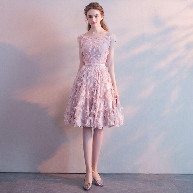 3XL rose femmes épaule dénudée robe de mariée demoiselle d'honneur au genou longueur Cheongsam 2019 nouvelle mince douce coréenne Banquet jupe robe de soirée