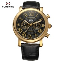 Stainless Steel Case Gold Color Bezel Genuine Leather Month Day Week Function relogio automatico masculino watch /FSG9407M3G2
