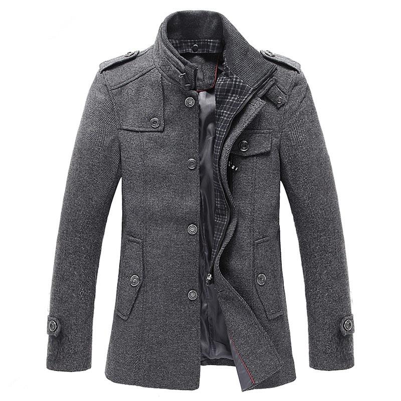 2016 winter Men's fashion leisure Men's thicking trench coat woollen overcoat men single breasted coat jackets windbreaker
