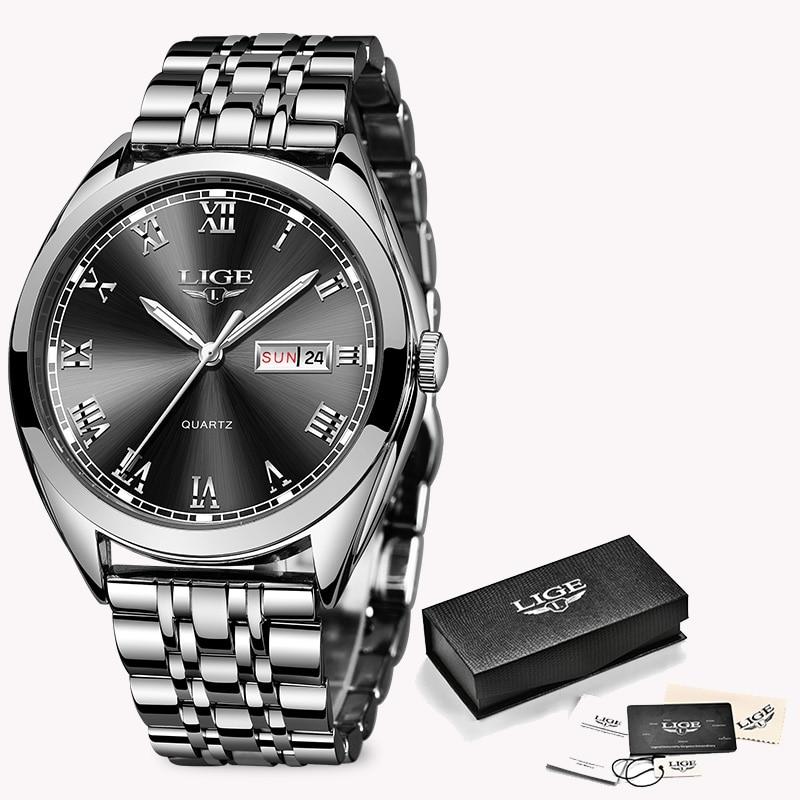 LIGE Fashion Women Watches Ladies Top Brand luxury Waterproof Gold Quartz Watch Women Stainless Steel Date Wear Gift Clock 2019 10