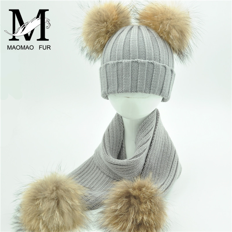 Kids Fur Scarf And Hat Set Winter Warm Thick Stretchy Knitted Beanie Boys Girls Real Double Fur Pom Pom Hat And Scarf Set