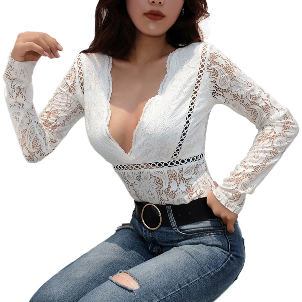 Fashion women v-neck long sleeve floral lace hollow out bodysuit jumpsuit