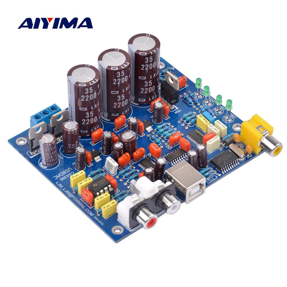 AIYIMA USB Audio Decoder Board CS4398 DAC Coaxial 24 192K Decoding Board DIY For Amplifiers Home Theater Finished Board cs8416 cs4398 dac diy kit with usb coaxial 24 192k decoder kit ac15v 32k 192k 24bit for hifi amplifier
