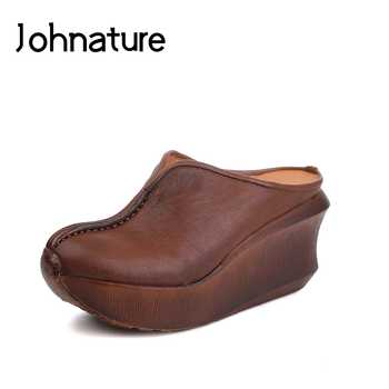 Johnature Summer 2019 New Ladies Slippers Sandals Casual Retro Genuine Leather Round Toe Women Shoes - DISCOUNT ITEM  40% OFF All Category