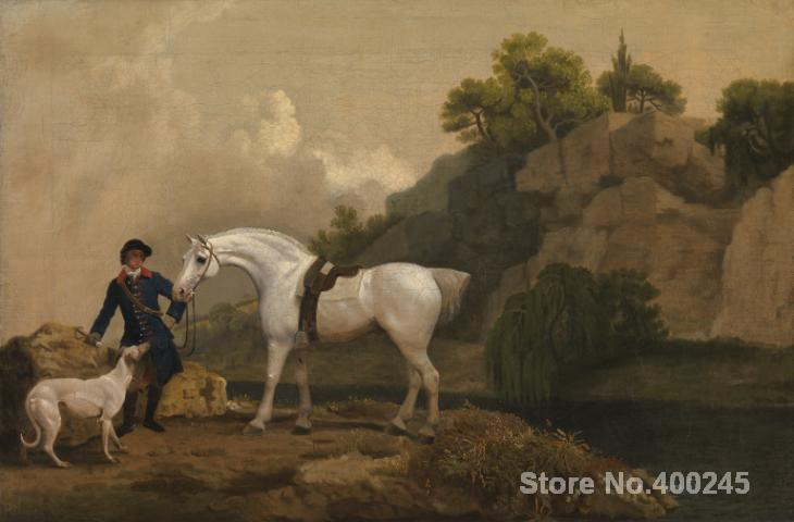Horses oil Painting Grey Hunter with a Groom and a Greyhound at Creswell Crags by George Stubbs Landscapes Classic Hand painted