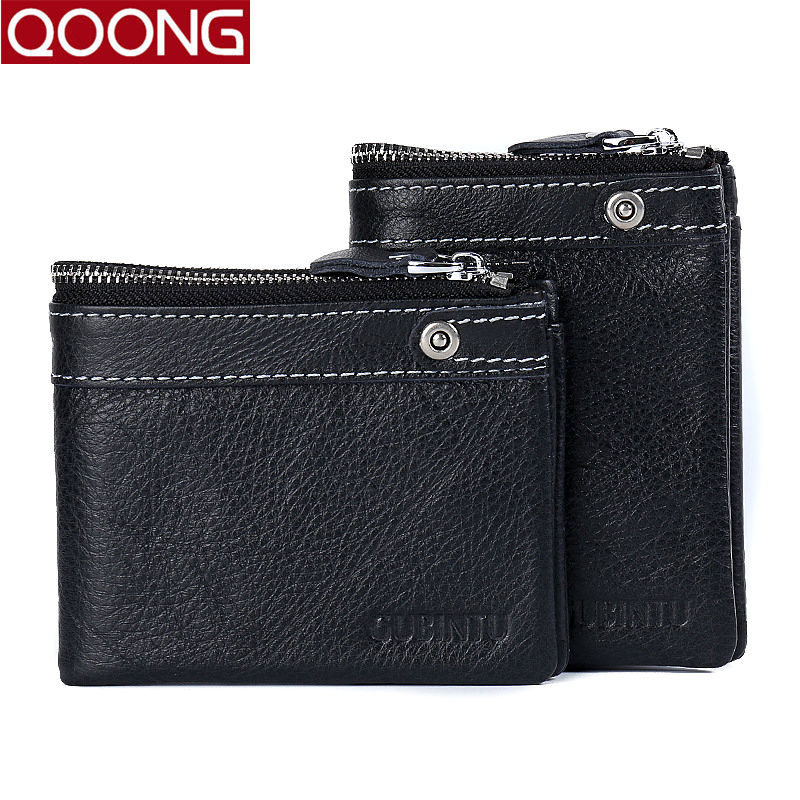 QOONG HOT!!! 100% Genuine Cowhide Leather Men Wallet Short Coin Purse Small Vintage Wallet Credit Card Holder High Quality 8105 high quality men genuine leather organizer wallet vintage cowhide clasp card holder coin purse vintage carteira masculina 1011