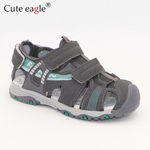 Summer Sandals Boys Closed Toe Newest Big Kids Soft Leather Walking Adjustable Shoes for Beach Travel Sports Activities