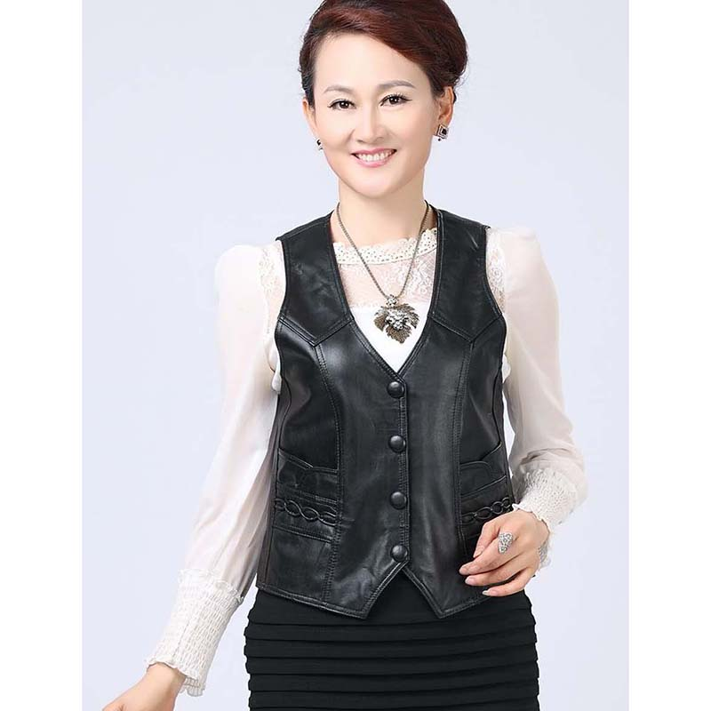 Plus Size 8XL Casual Vest Softskin Genuine Leather Vest for Women Sleeveless Jacket Winter Autumn OUTERWEAR