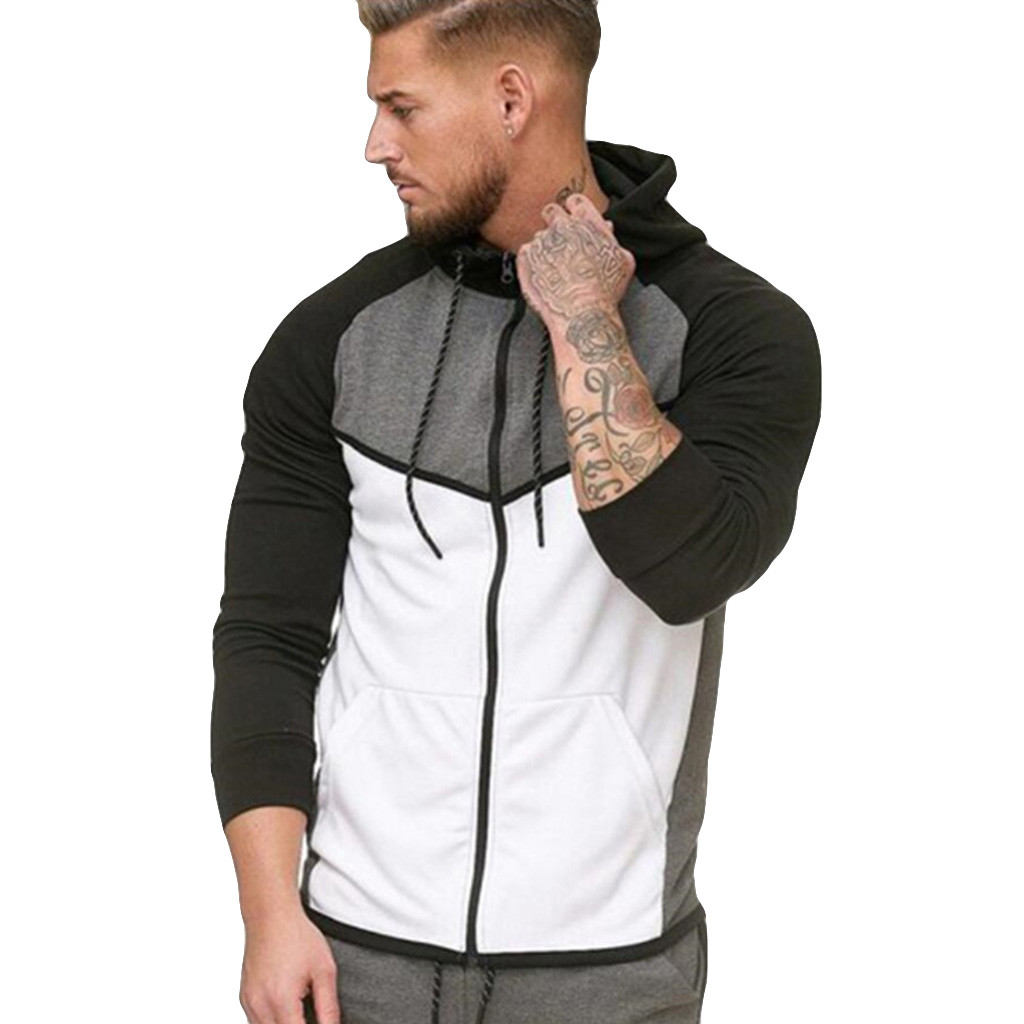Sweatshirt Men Zipper Splicing Color Pullover Long Sleeve Hooded Sweatshirts Tops Blouse Casual Coat Streetwear High Quality