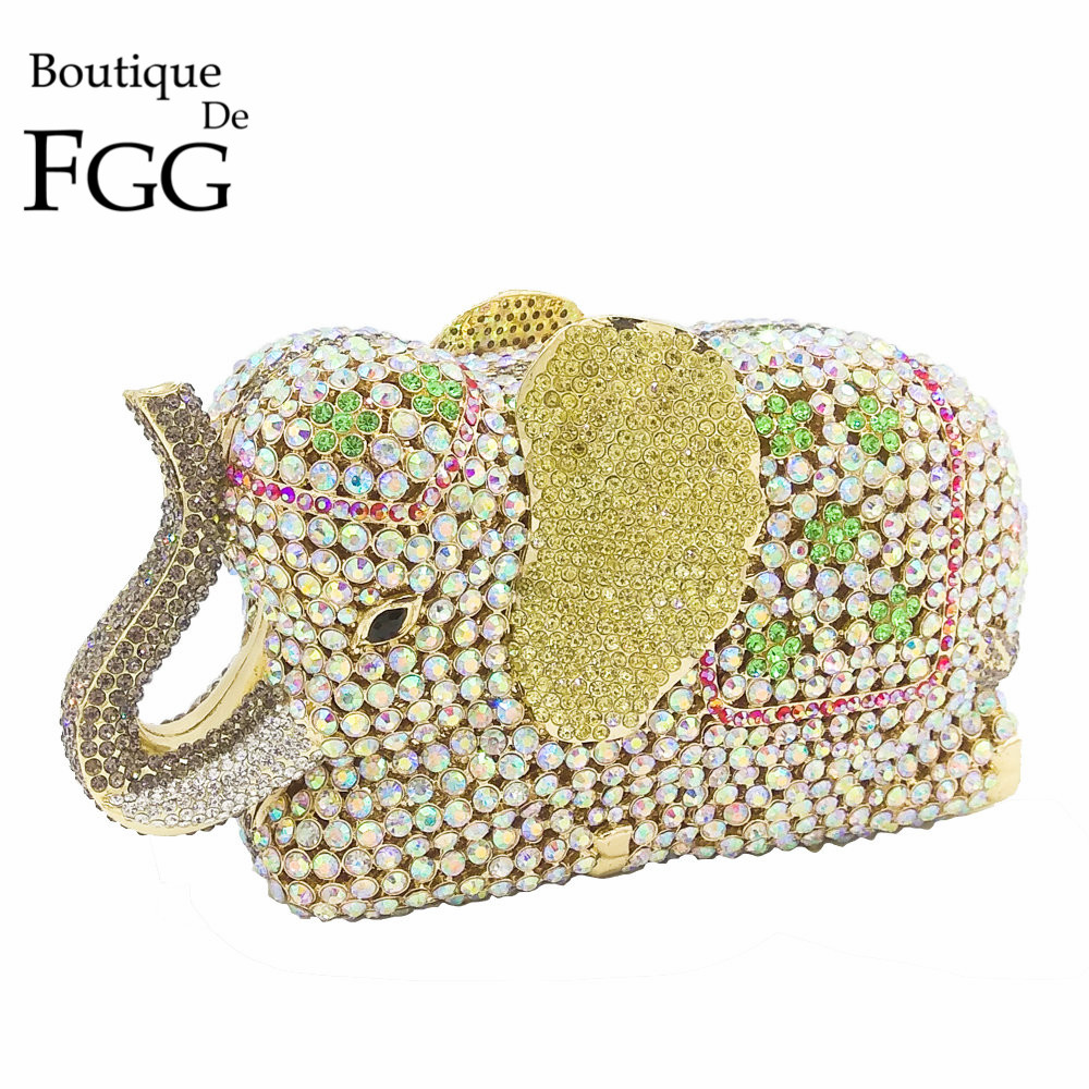 Boutique De FGG Elegance 3D Elephant Shape Gold Crystal Women Evening Handbag and Purse Metal Wedding