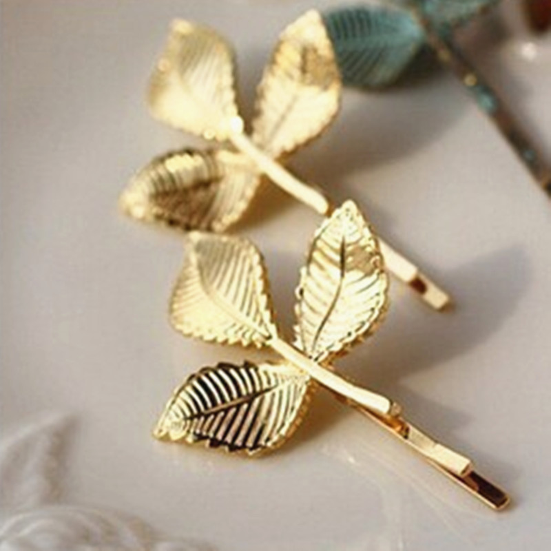 2018 Hot new fashion retro atmosphere golden leaf hairpin crystal shop free shipping woman gifts