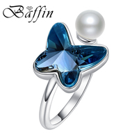 Baffin 2017 New Silver Open Ring For Women Party Blue Crystals From SWAROVSKI Bowknot Jewelry Best