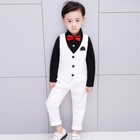 2019 spring boys formal suits three piece performance clothing for kids suit for weddings chidren clothing black blue red suits