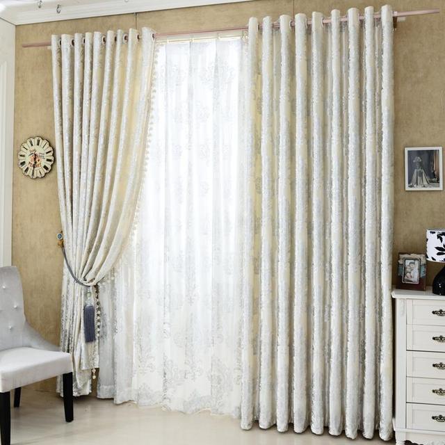 Thick Velvet CurtainsLuxury Curtains Hot Silver Craft Europe Damascus Pattern