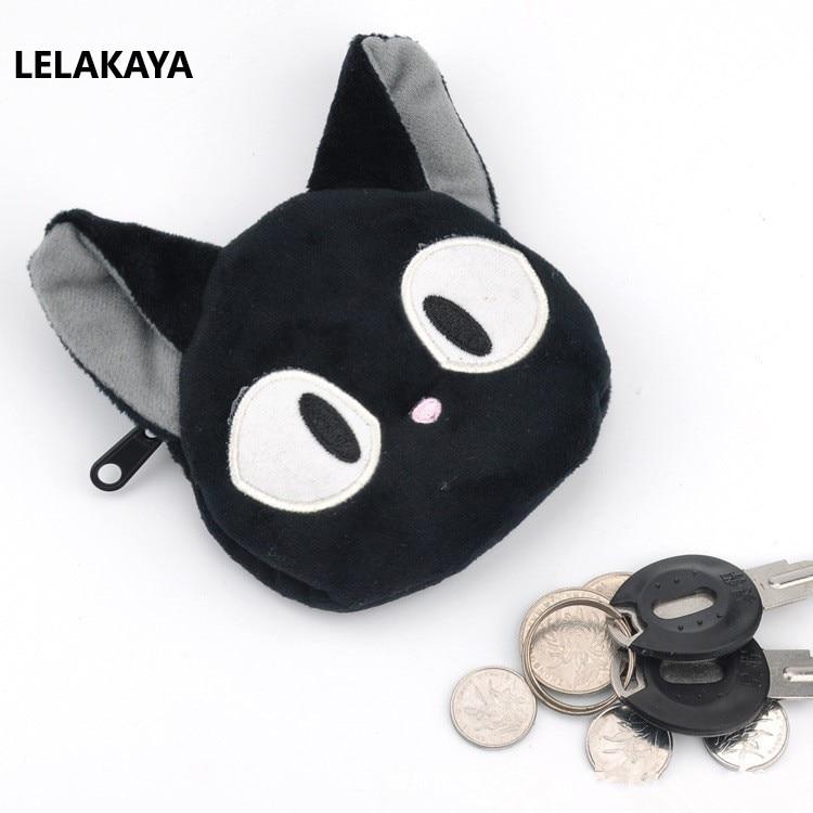 Anime Kiki's Delivery Service Jiji Plush Purse Stuffed Cartoon Bank Card Key Cartoon Kawaii Plush Small Mini Purse Zip Bag