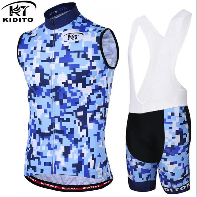 KIDITOKT Sleeveless Cycling Vests Jersey Set 2018 MTB Bicycle Clothing Maillot Ropa Ciclismo Hombre Racing Bike Wear Clothes