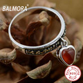 100% Real Pure 925 Sterling Silver Jewelry Red Heart Agate Retro Rings for Women Lover Best Gift Free Shipping Bijoux MN20396R