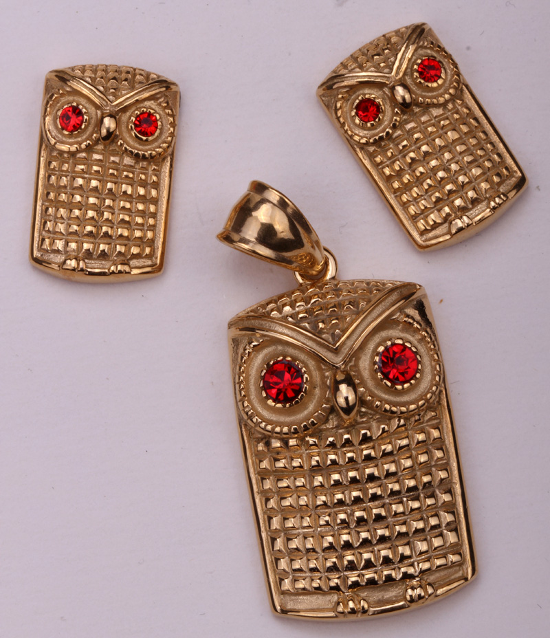 Owl necklace earrings sets women stainless steel jewelry gifts JN05 wholesale dropshipping silver & gold tone