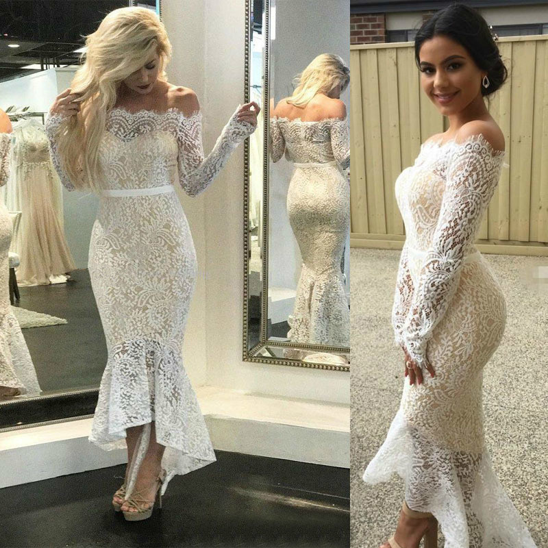 vestido white lace long sleeve dress backless off shoulder womens clothing see through party dresses crochet mesh elegant in Dresses from Women 39 s Clothing