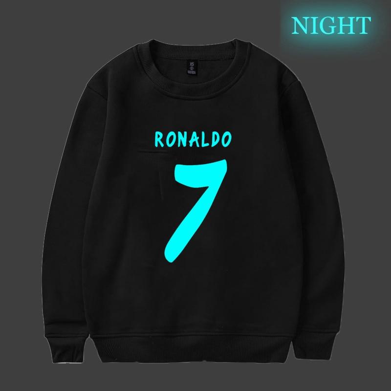 Ronaldo 7 Cr7 Luminous Printed Men's Long Sleeve Hoodie Funny Men Women Couple Cotton Sportswear Sweatshirts Tops Pullover