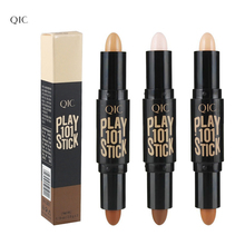 QIC Double-ended 2 in1 Contour Stick Base Makeup Creamy Highlighter Bronzer Create 3D Face Contouring Make up Blemish Concealer