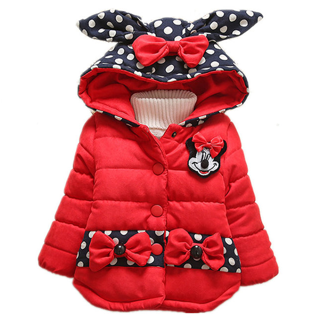 Winter Baby Jacket 2016 New Fashion Girls Long Sleeve Thicken Hooded Coat Kids Dot Pattern Warm Outerwear Children Clothing