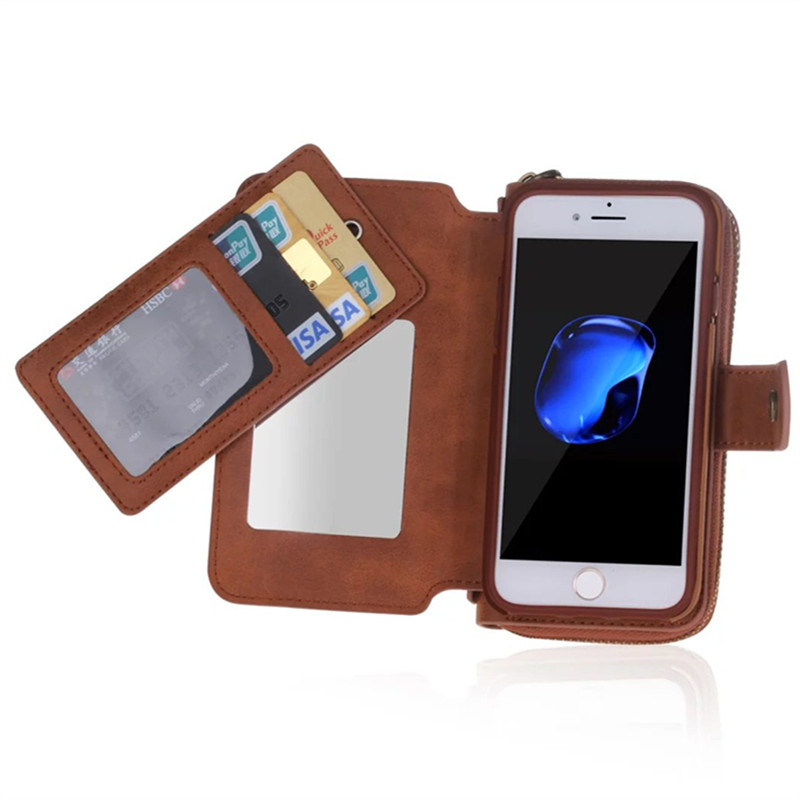 Multifunction Wallet Leather Case For iPhone7/plus/6s/6 plus/5S/SE Zipper Purse Pouch Phone Cases Lady Women Style Handbag Cover