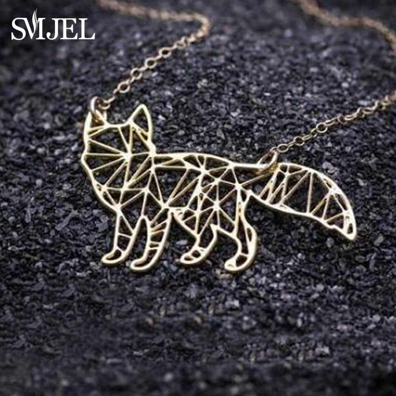 SMJEL Minimalist Origami Fox Necklace Women Collier Geometric Animal Fox Necklace & Pendants Party Accessories Drop Shipping