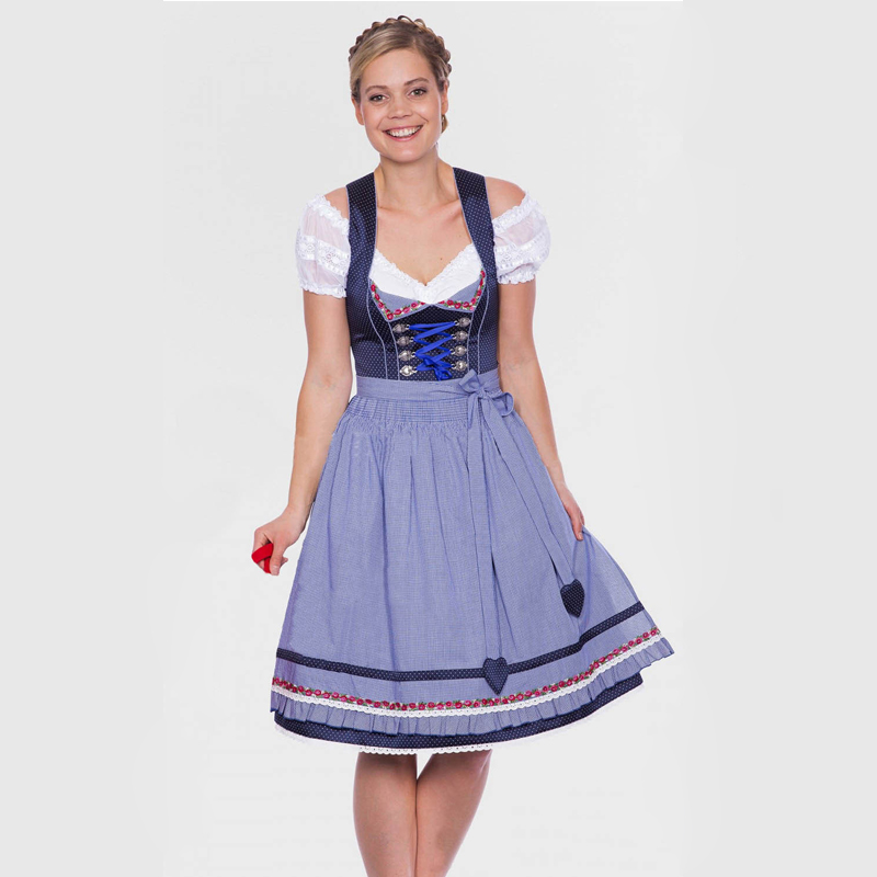 Deluxe German Bavarian Dirndl Traditional Ladies Oktoberfest Beer Girl Fancy Dress Adult Women Wench Costume