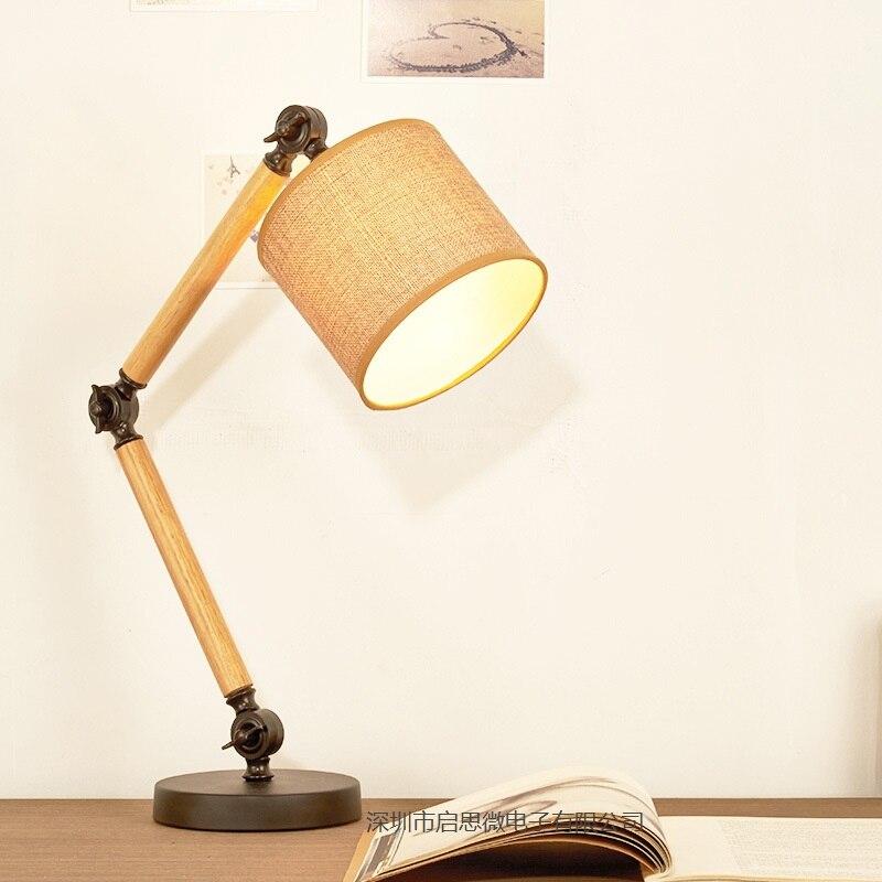 Newest Table Lamp Wooden Modern American Foldable Long-Arm Desk Lamp Reading Lamp E27 110V 220V  Office Lamp For Study