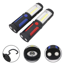 2 Modes Portable COB LED USB Rechargeable Flashlight Magnetic Work Light Lamp with Hanging Hook Power Bank for Outdoors Camping