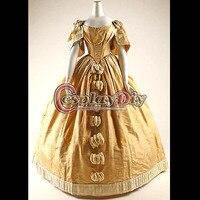 Бесплатная доставка на заказ аристократ бальное платье Желтый викторианской платье Костюм Готический вечернее платье