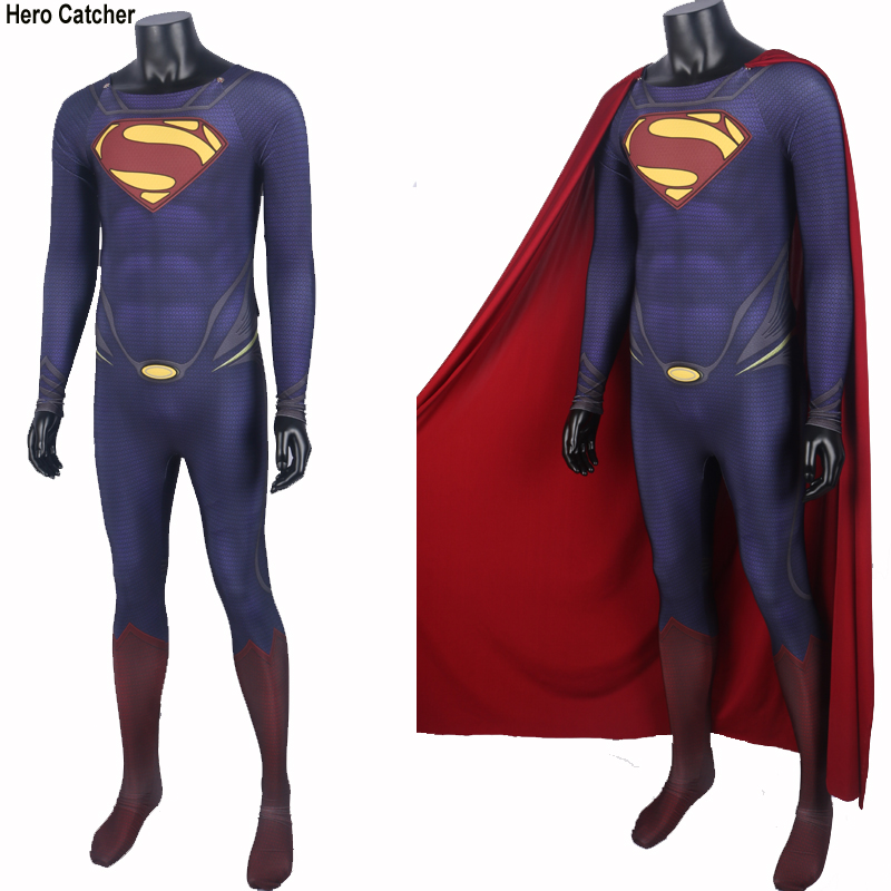 High Quality New Muscle Shade Superman Costume With Cape 3D Chest Logo Man Of Steel Spandex Suit For Pattern